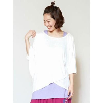 【チャイハネ】yul ロータス&月刺繍レイヤードトップス インナー付き2点セット ホワイト