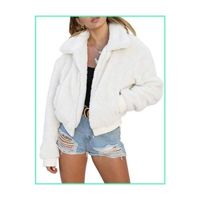 AKEWEI Women Thick Fuzzy Jacket Casual Trendy Zip Up Faux Shearling Outwear with Pockets White並行輸入品