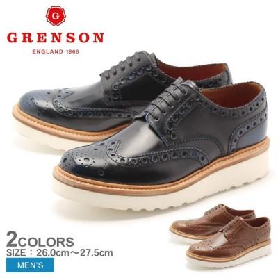 \お盆も出荷/グレンソン レザーシューズ アーチー ウィングチップ メンズ 革靴 GRENSON ブランド 誕生日 プレゼント ギフト ビジネスシューズ