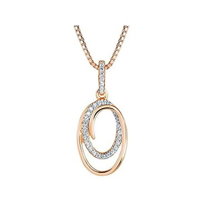 【新品】スターリングシルバー 人工ダイヤモンド ダブルオーバルローズトーンペンダントネックレス