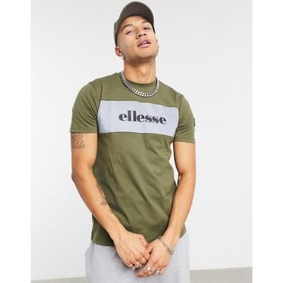 エレッセ メンズ シャツ トップス ellesse Samba iridescent t-shirt in khaki