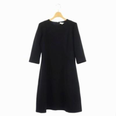 【中古】マディソンブルー MADISONBLUE ドレス ワンピース 膝丈 七分袖 2 黒 ブラック /ES ■OS レディース