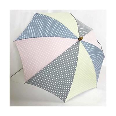 日本製 高級傘 日傘 晴雨兼用傘 おしゃれな 水玉 ドット柄 UVケアパラソル 47cm 長傘 婦人傘 (ピンク×黒×グリーン×ブルー水玉)