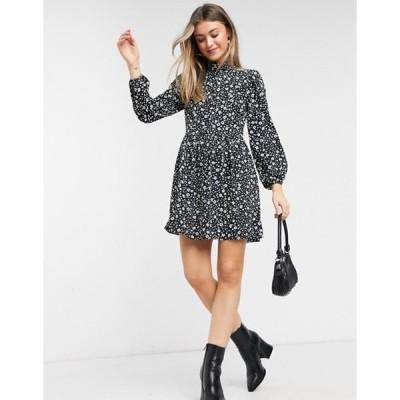 エイソス レディース ワンピース トップス ASOS DESIGN long sleeve button front mini smock dress in black floral print