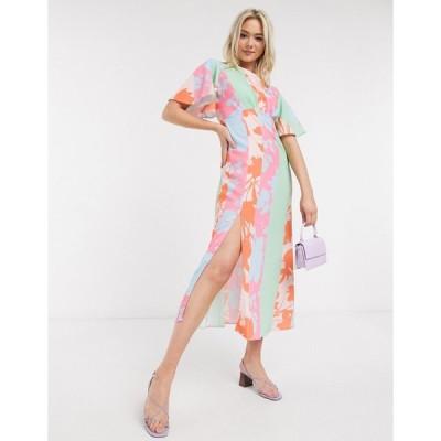 ジョンザック ミディドレス レディース John Zack scarf print midaxi dress in multi print エイソス ASOS sale マルチカラー