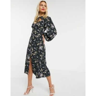 エイソス レディース ワンピース トップス ASOS DESIGN midi dress with neck tie in dark based floral print Dark based floral