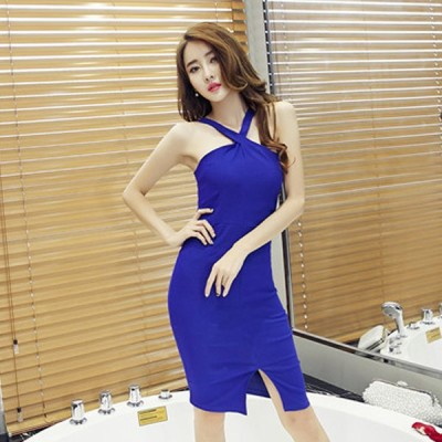 イブニングドレス パーティードレス  安い 可愛い タイト スリム ナイトクラブ キャバ ディナー ホルターネック スリット ミディドレス