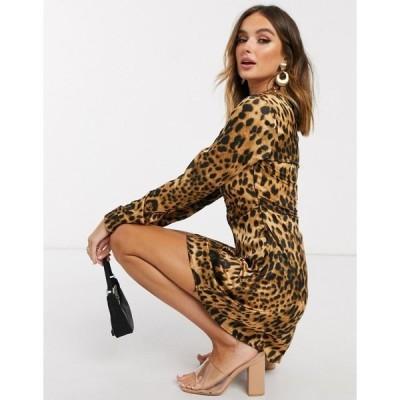 ミスガイデッド レディース ワンピース トップス Missguided hook and eye dress in leopard print Leopard