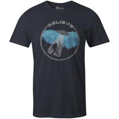 メンズ 衣類 トップス 9 Crowns Tees Bigfoot UFO Abduction Believe Funny Sasquatch T-Shirt-Mens (UFO Mens Navy Small)