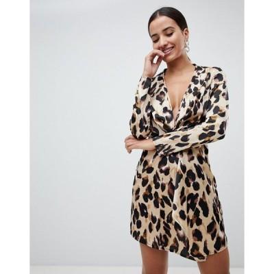 ミスガイデッド レディース ワンピース トップス Missguided knot front dress in leopard Leopard