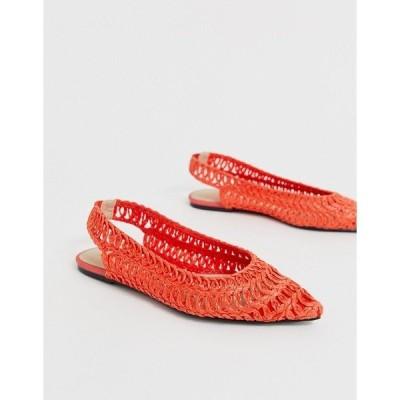 エイソス レディース サンダル シューズ ASOS DESIGN Lively slingback ballet flats in orange Orange
