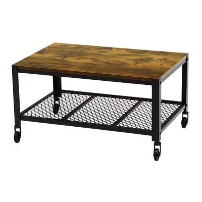 HAGIHARA(萩原) ヴィンテージテーブル(幅75×奥行50×高さ39.5cm) キャスター付きテーブル KT-3763 返品種別A