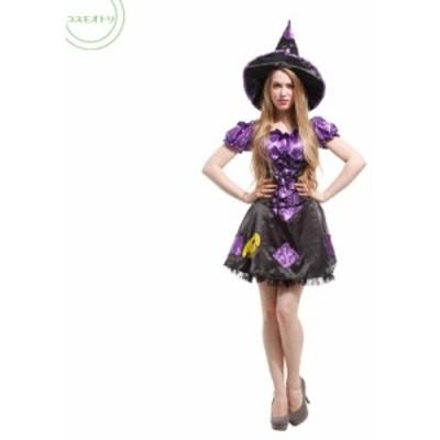 ハロウィン 3点セット コスチューム パーティー 魔女 魔法使い コスプレ レディース 大人用 ワンピース 可愛い