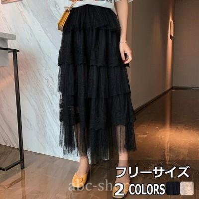 メメメクラゲチュールスカートレディースロングレーススカートフレアスカート女性用ウエストゴム体型カバーレース可愛い