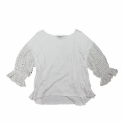 【中古】ナノユニバース nano universe カットソー 刺繍 レース 長袖 38 白 ホワイト/4 レディース