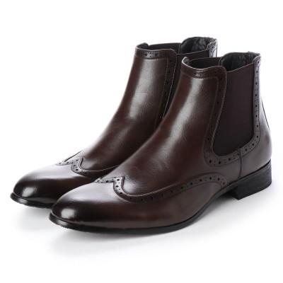 ジーノ Zeeno メンズブーツ サイドゴアブーツ  ウイングチップ ショートブーツ ドレスシューズ フォーマル 革靴 (ダークブラウン)