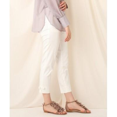 【クチュールブローチ】 裾リボンテーパードパンツ レディース オフホワイト 38(M) Couture Brooch