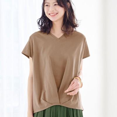ヴィオラ エ ヴィオラ Viola e Viola 綿100%ゆったり裾タックTシャツ (モカ)