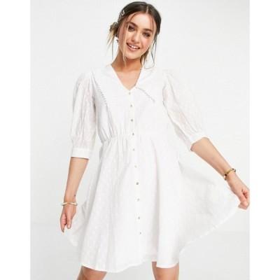 ピンキー Pimkie レディース ワンピース Vネック シャツワンピース ワンピース・ドレス v neck shirt dress in white ホワイト