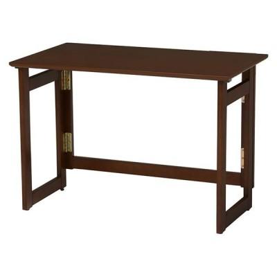 折りたたみテーブル/ローテーブル 〔約幅80cm×奥行40cm×高さ55cm ダークブラウン〕 木製 キャスター付き 〔リビング〕〔代引不可〕【配達日時指定不可】