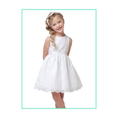 Horcute Little Girls Party Sleeveless Lace Overlay Flowers Girls Dresses White 90#1-2Y並行輸入品