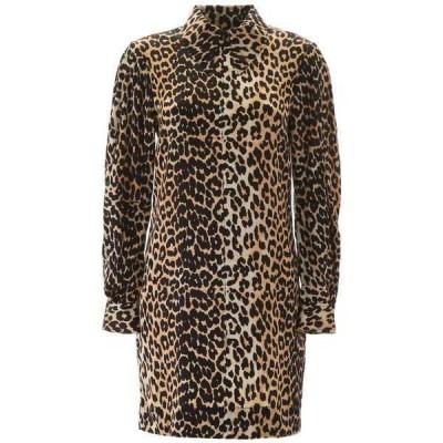 ガニー レディース ワンピース トップス Ganni Leopard Print Collared Mini Dress -