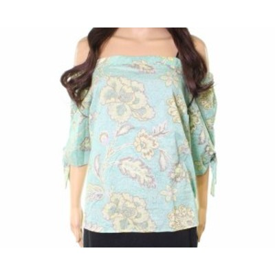 Willow & Clay ウィロー&クレイ ファッション トップス Willow & Clay NEW Green Floral Print Womens XS Off-Shoulder Blouse Top