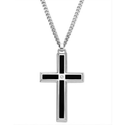 メイシーズ Macy's メンズ ジュエリー・アクセサリー Stainless Steel Pendant, Black Enamel and Diamond Accent Cross No Color