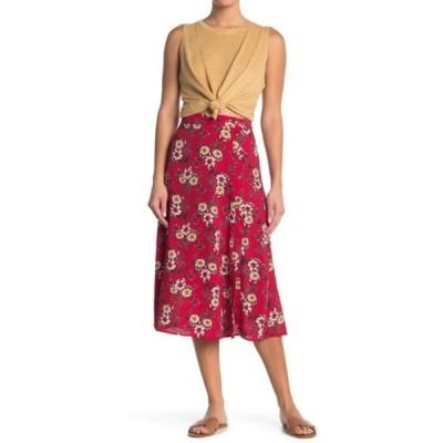 グッドラックジェム レディース スカート ボトムス Printed Side Button Midi Skirt RED FLORAL