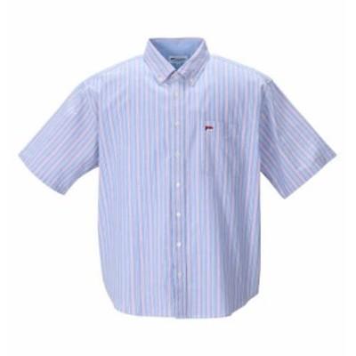 大きいサイズ メンズ H by FIGER オックス ストライプ B.D 半袖 シャツ ブルー 1267-1231-1 3L 4L 5L 6L 8L