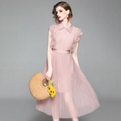 ロングシャツストラップスカートセットアップ 春 春夏 夏 レディース セットアップ 半袖 プリーツスカート シースルー シフォン