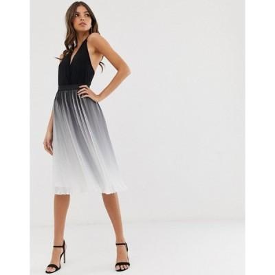 チチロンドン レディース スカート ボトムス Chi Chi London pleated color block midi skirt in monochrome dip dye effect