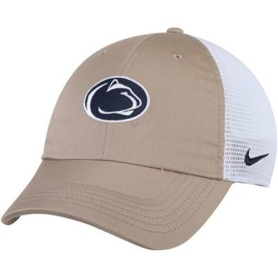 ユニセックス スポーツリーグ アメリカ大学スポーツ Penn State Nittany Lions Nike Trucker Adjustable Performance Hat - Khaki/Whit