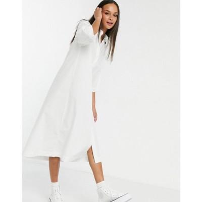 モンキ Monki レディース ワンピース シャツワンピース ワンピース・ドレス Elin Organic Cotton Midi Shirt Dress ホワイト
