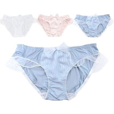 レディース パンティー シルク 3枚組 レディース-シルク 快適な着心地 響きにくい サイド透かしフリル 消臭抗菌 女子中学生 下着 ショーツ ピンク