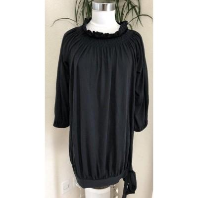 PALEO 裾リボン付き カットソー黒ワンピースL