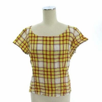 【中古】マーガレットハウエル MARGARET HOWELL リネン シャツ ブラウス チェック 麻100% 半袖 イエロー 黄色 2