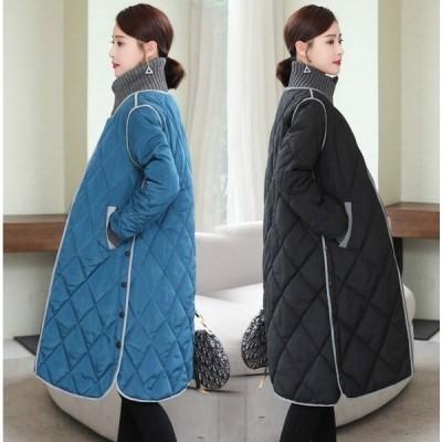 超キルトコートアウターレディースロングコート中綿コート大きいサイズタートルネックハイネック防寒ポケット通勤かわいい韓国ファッション