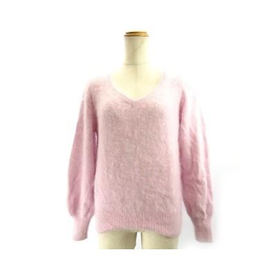 【中古】ユナイテッドアローズ UNITED ARROWS 近年モデル アンゴラニット Vネックセーター 長袖 ピンク FREE フリーサイズ IBO3 レディース 【ベクトル 古着】