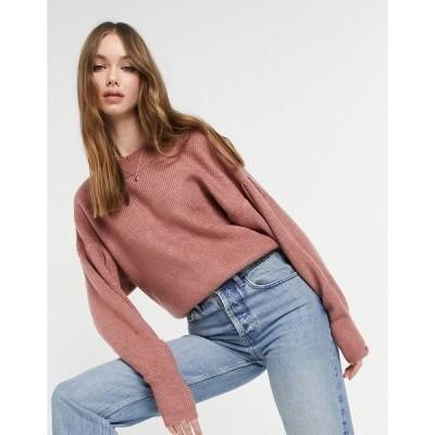 エイソス レディース ニット&セーター アウター ASOS DESIGN sweater with batwing and pleat sleeve detail in dusky pink Dusky pink