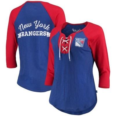 アリッサミラノ Tシャツ トップス レディース New York Rangers Touch by Alyssa Milano Women's Home Run 3/4-Sleeve T-Shirt Blue