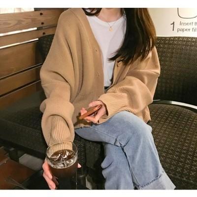 アウター カーディガン ニット 厚手 暖かい Vネック ゆったり ボリューム袖 きれいめ カジュアル 大人可愛い 韓国ファッション