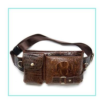 【新品】Mens Fanny Pack, Rugged Genuine Leather Waist Bags for Men Bumbag Waist Pack for Hands-free Crocodile(並行輸入品)