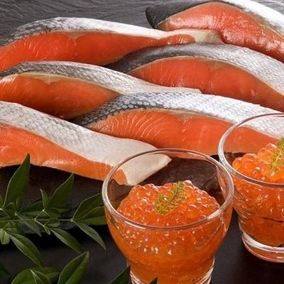 【北海道根室産】時しらず鮭6切・いくら醤油漬60g×2P A-42093