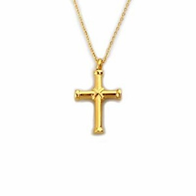 W/W Lifetime Cross Necklace for Women Ashes Urn Memorial Pendant Necklace Perfume Bottle 18K Gold Stainless Steel Cremation Jewe