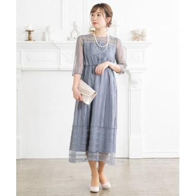 【7分袖付き】ストライプレースワンピースドレス