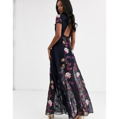 フロック レディース ワンピース トップス Frock & Frill embellished cut out back short sleeve maxi dress