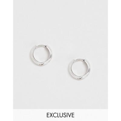 リクレイム ヴィンテージ メンズ ピアス・イヤリング アクセサリー Reclaimed Vintage Inspired hoops earrings in burnished silver tone exclusive at ASOS