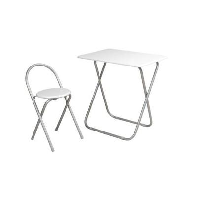 フォールディングテーブル&チェア セット 〔ホワイト〕 テーブル幅700mm スチール製脚付き 〔リビング〕 完成品〔代引不可〕