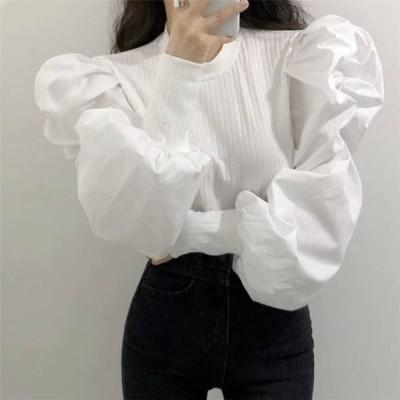 2color レディース トップス ブラウス カットソー シャツ 白シャツ 無地 長袖 ボリューム袖 パフスリーブ 切り替え 切替 切り替えデザイン デザイン リブ